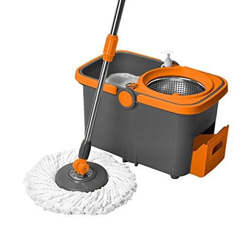 [Ready Stock] Spin Mop Stainless Steel With Bucket Free 1 Mop Head