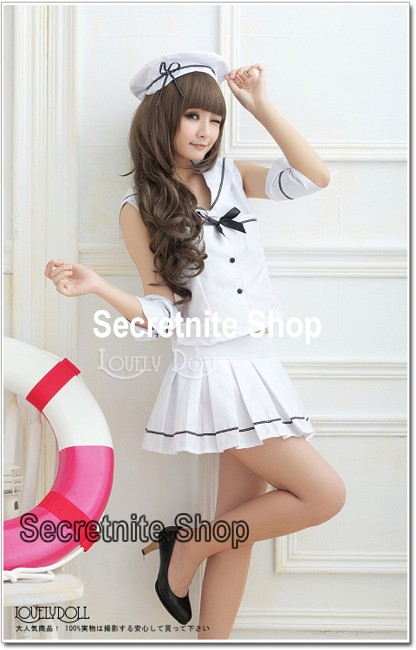 Ready Stock Sun@ Sexy Lingerie White Costumes Sailor S-328