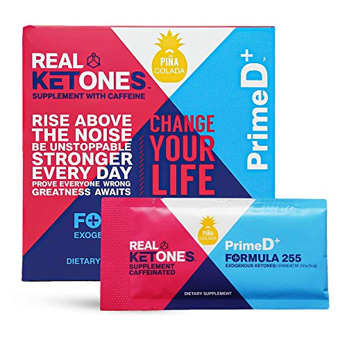 Real Ketones Prime D+ Exogenous Keto D BHB + MCT with Caffeine Drink Mix Powde