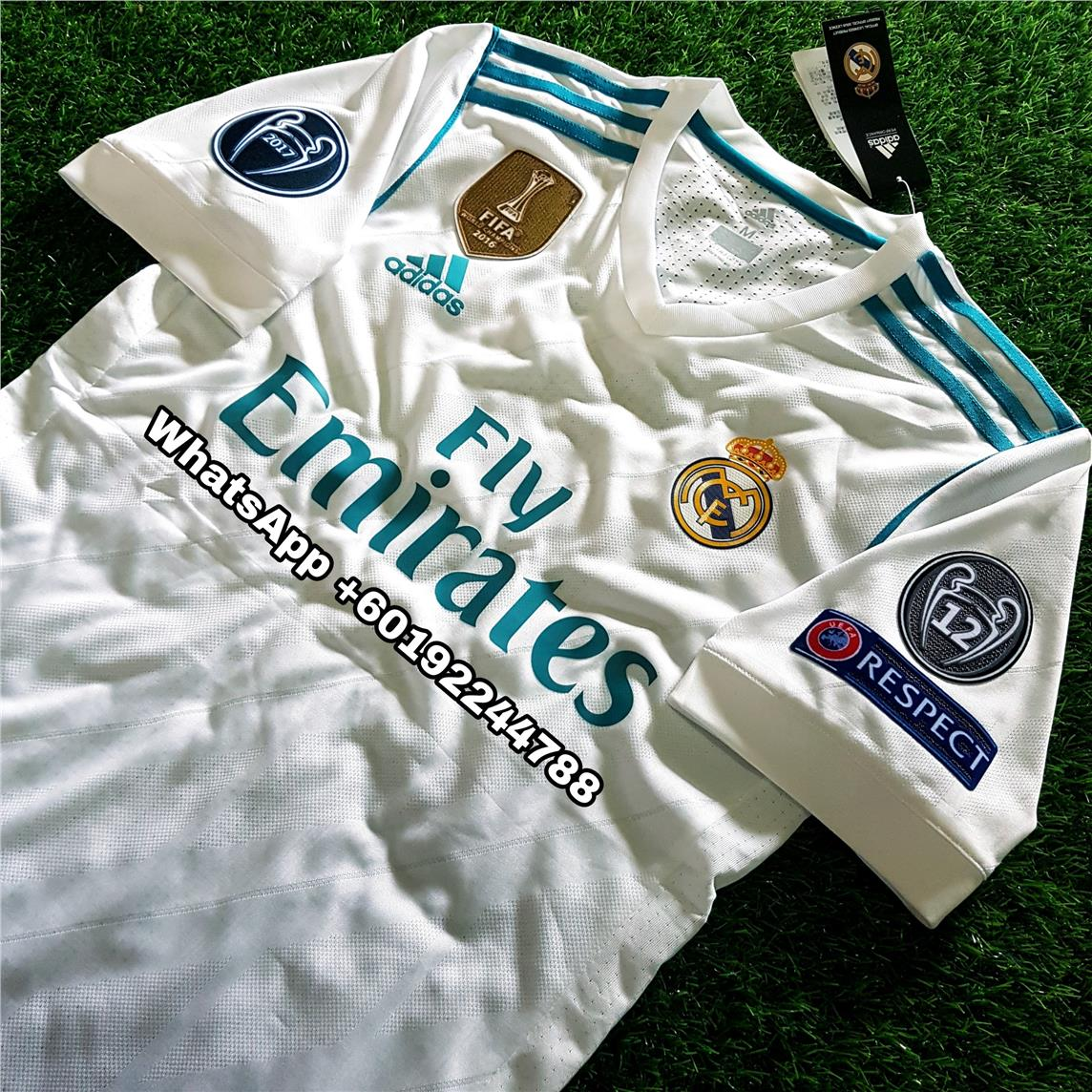 purchase cheap e157d 3a4db REAL MADRID HOME JERSEY / JERSI 2017 / 18 FULL SPEC PATCH UCL