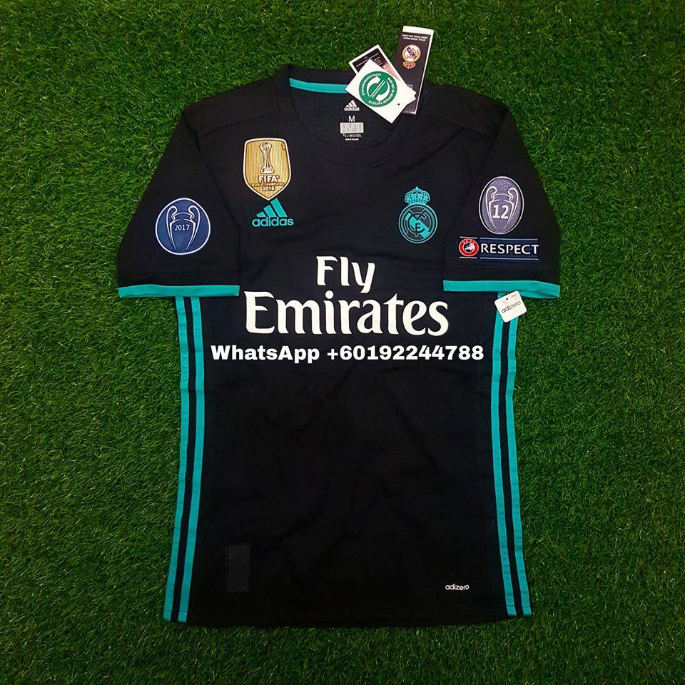 the best attitude 588ce 806ef REAL MADRID AWAY JERSEY / JERSI 2017 / 18 FULL SPEC PATCH UCL