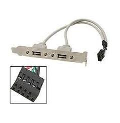Rear Panel PCI Bracket with 2 Port USB 2.0 to 9 Pin Connector