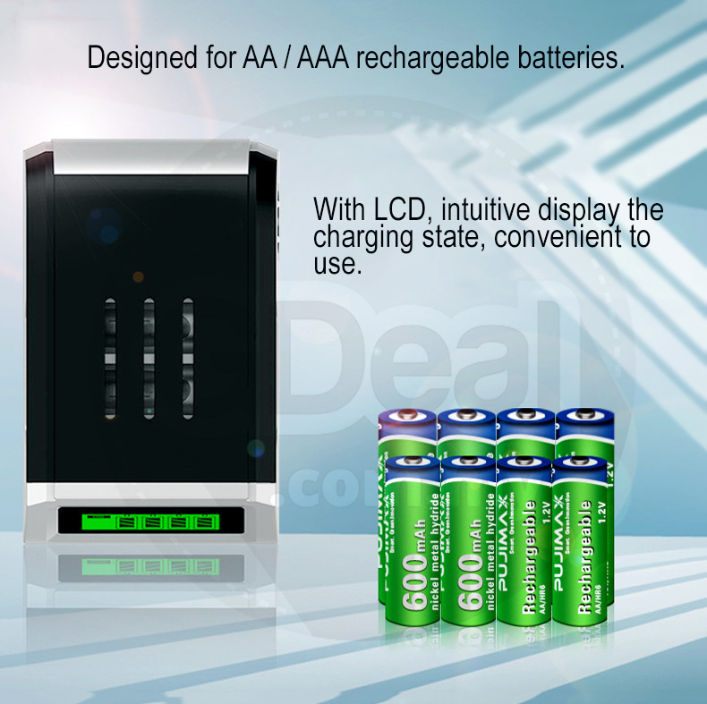 Rechargeable 4 Slot AA/AAA Batteries Charger Power Adapter LED Screen