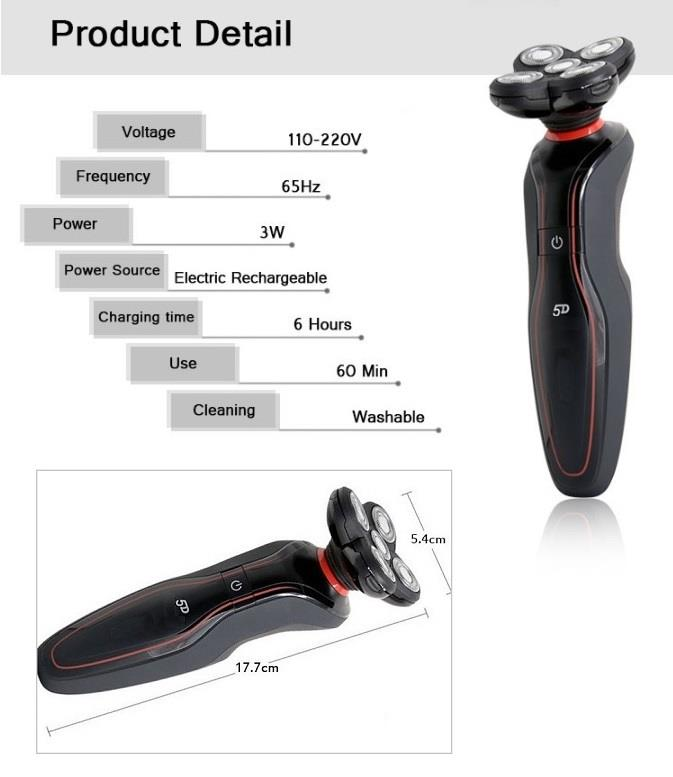 Rechargeable 5D Rotating Blades Shaver For Men (HEA0046)
