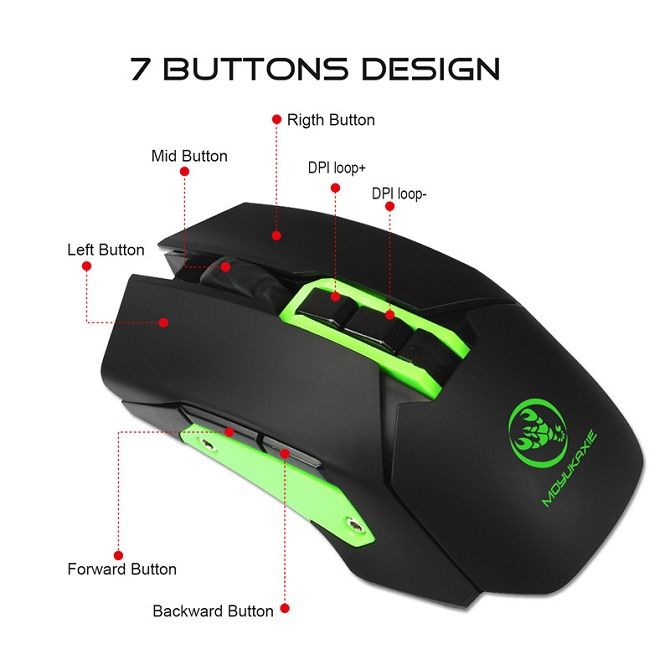 Rechargeable Backlight Wireless Mouse 7 Button Computer Gaming Mouse 4