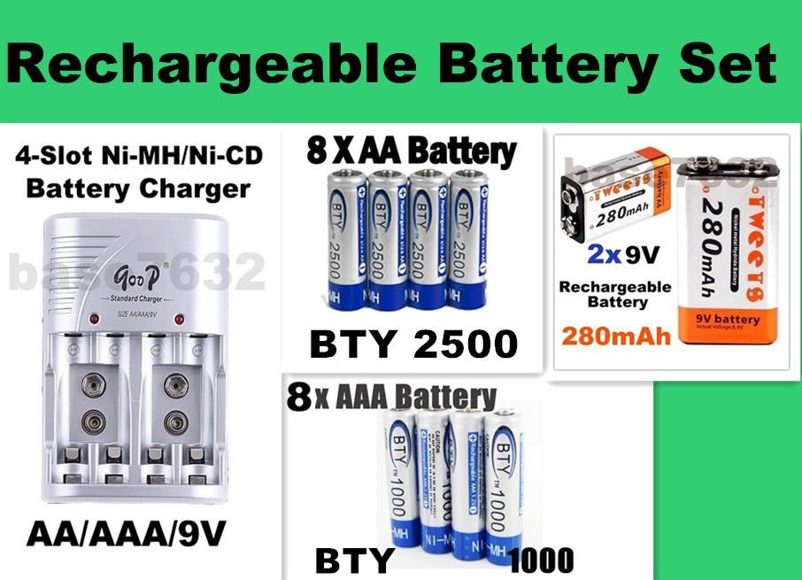 Rechargeable Battery Charger Set+ 8x AAA BTY1000+8x AA BTY2500 +2x 9V