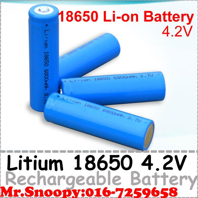 Rechargeable Litium Li-on Battery 18650 4.2V 6800mah
