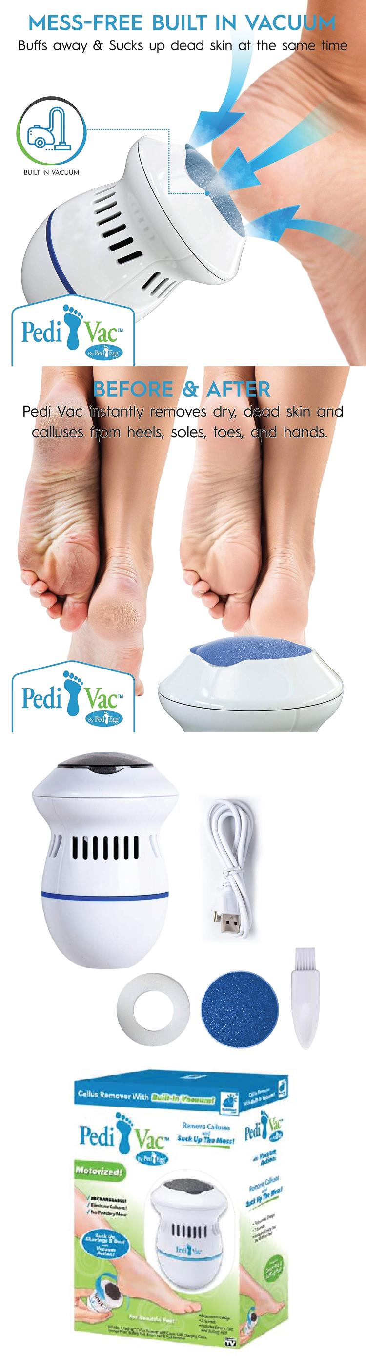 Rechargeable PediVac Electric Callus Remover Feet Care Cracked Skin