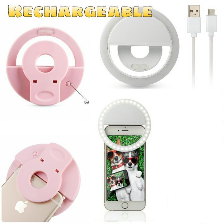 Rechargeable Portable Selfie Ring Light for Camera Phone (PINK)