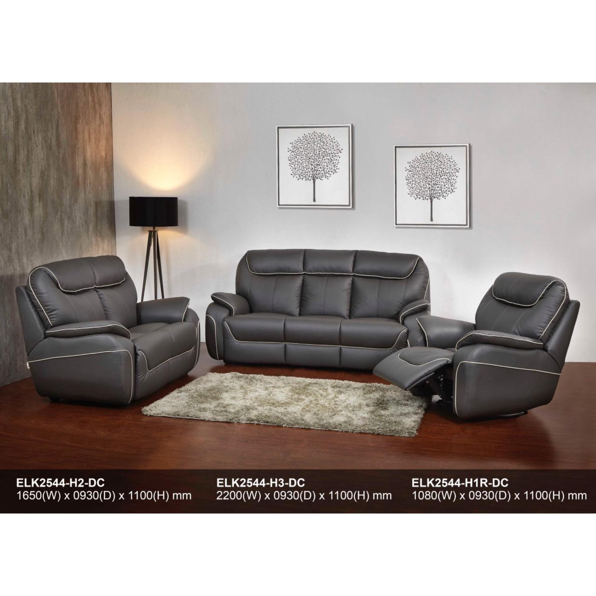 Recliner Sofa 1R+2+3 Fully Leather Sofa (Dark Brown)