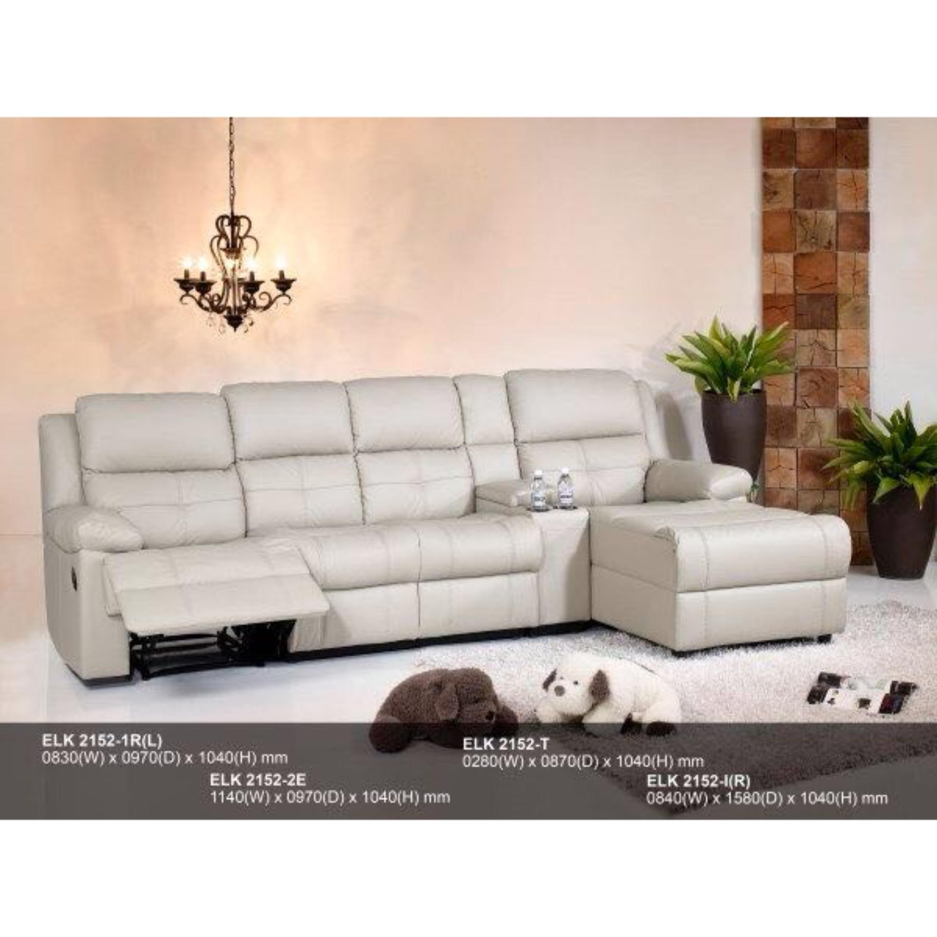 Recliner Sofa L-Shape Fully Leather Sofa (Light Brown)