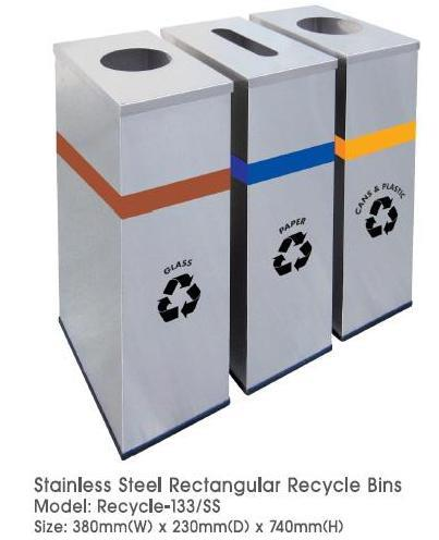 Rectangular Recycle Bins 3in1 Stainless Steel Recycle 133SS