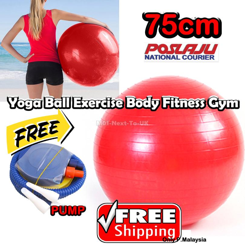 Red 75cm Yoga Ball Exercise Body Fitness Gym Pilates Core
