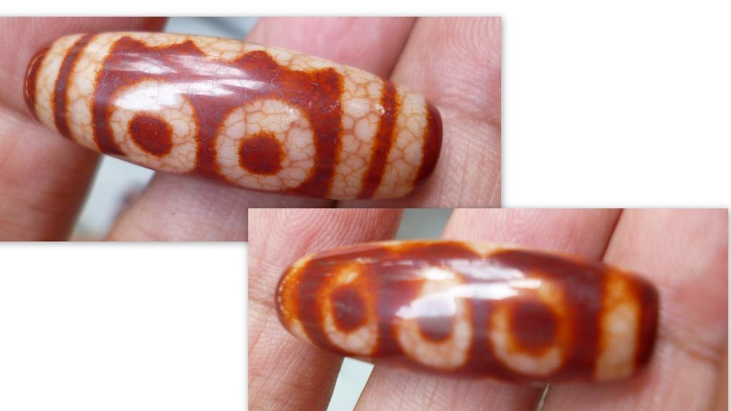 RED AGATE  5  EYE DZI  BEAD