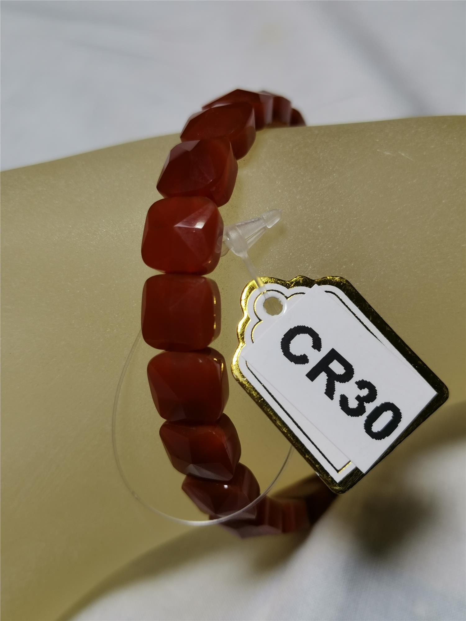 Red Agate Faceted Square (8*8mm)