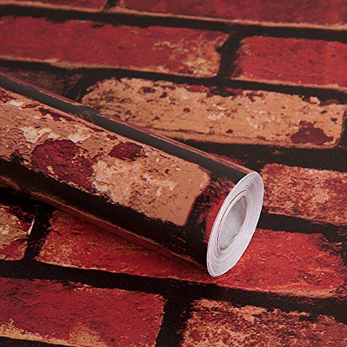 "Red Brick Peel and Stick Wallpaper, 17.7 "" x 78.7 "", Removable Textu"