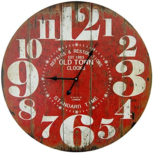 ..// Round Red Decorative Wall Clock with Big Numbers and Distressed Old Town