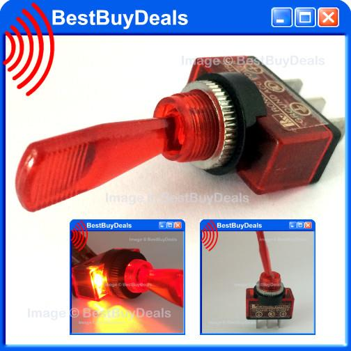 RED Led Car Boat Truck SHAFT Toggle Switch 12V Aircraft St