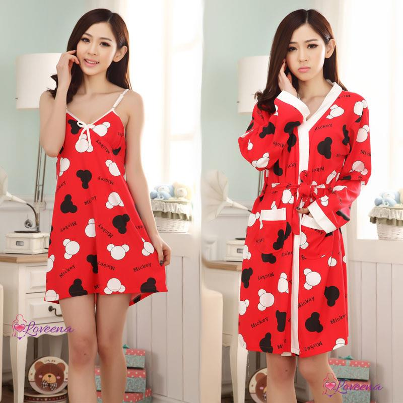 Red Mickey Sleepwear Pyjamas Dress with Robe P0513