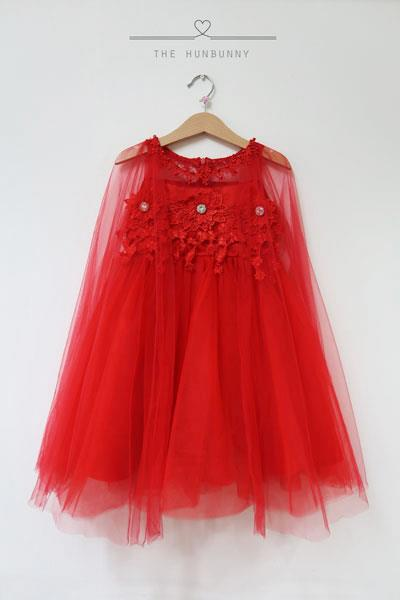 Red Tulle dress with crochet details and draped sleeves