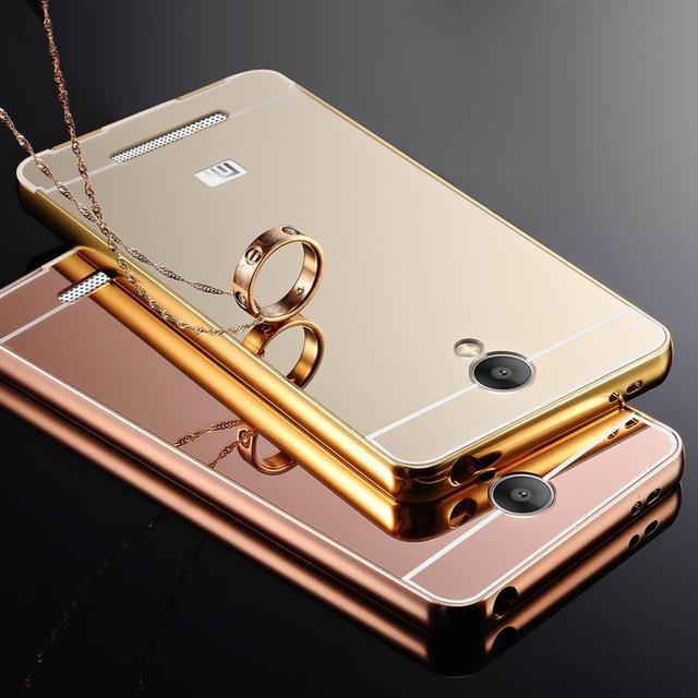 Redmi Note 4 3 2 Mi4i J5 J7 S7 Mirror Metal Bumper Case Cover Tempered. ‹ ›