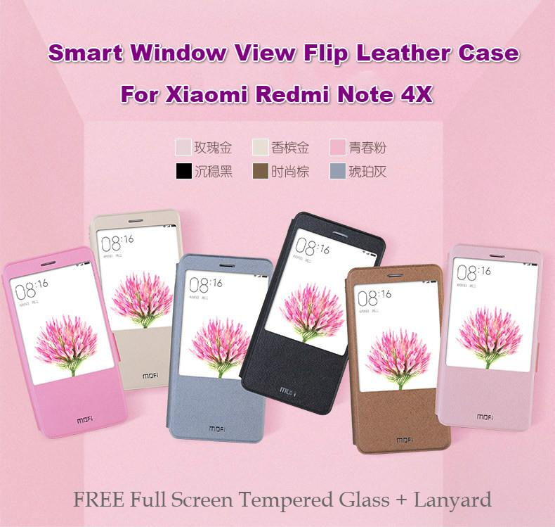 Redmi Note 4X Snapdragon Smart Window View Flip Case (+ Free Gift)