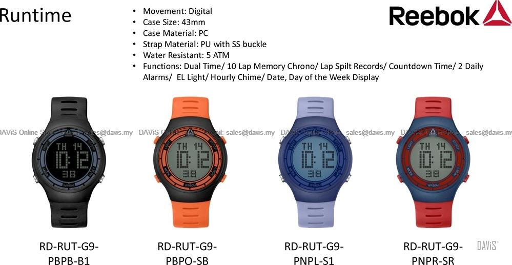Reebok Watch RD RUT G9 Unisex Runtime Digital 10 Lap Memory Chrono PU