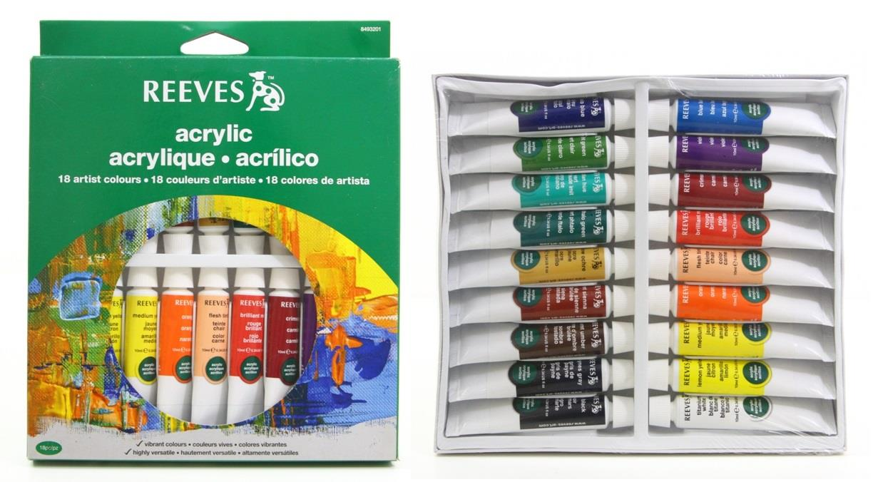 REEVES Acrylic Paint 18 Artist Colours Tube