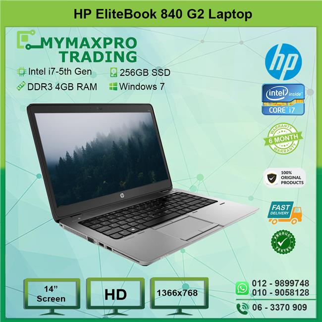 REF HP EliteBook 840 G2 Laptop i7 5th Gen 4GB 256GB SSD Win7