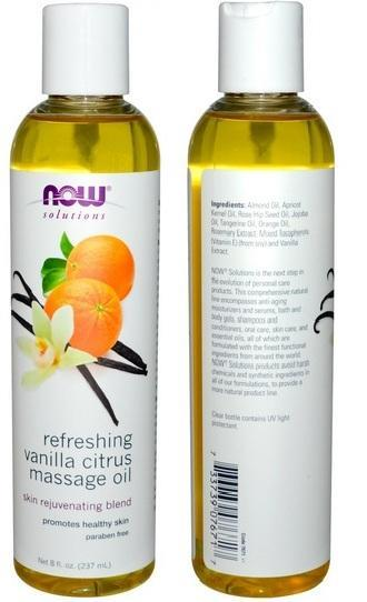 Refreshing Vanilla Citrus Massage Oil, Paraben Free, USA (237ml)