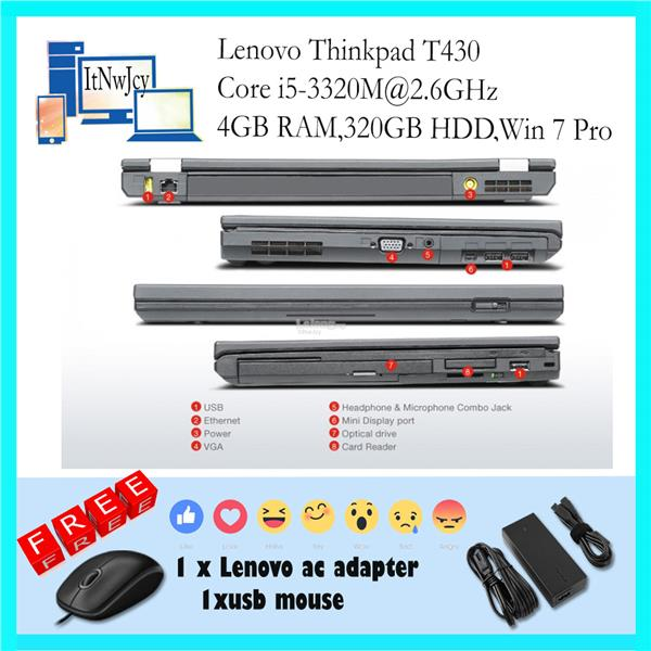 Refurbished Lenovo Thinkpad T430(Core i5-3320M,4GBRAM,320GBHDD)