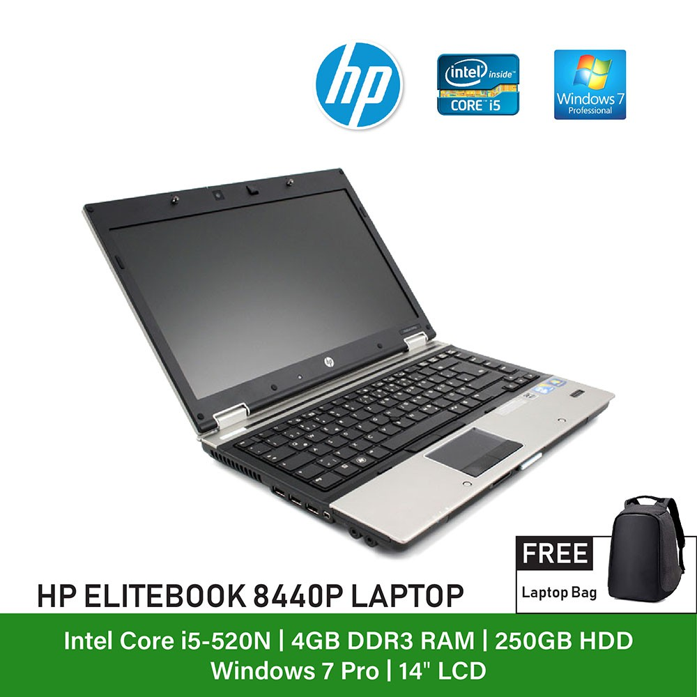 (Refurbished Notebook) HP Elitebook 8440p Laptop / 14 inch Display / Intel  Cor