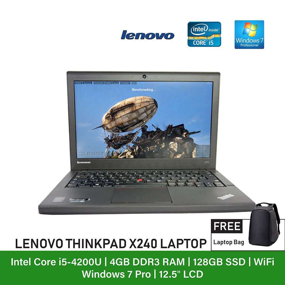 (Refurbished Notebook) Lenovo Thinkpad X240 Laptop / 12 5 inch Display /  Intel
