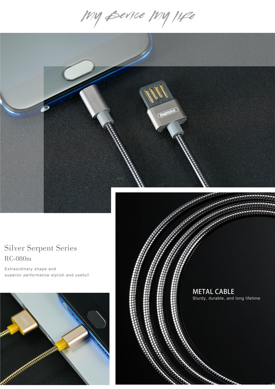 REMAX RC-080M Micro USB 2.1A Port Tinned Copper Charging Data Cable