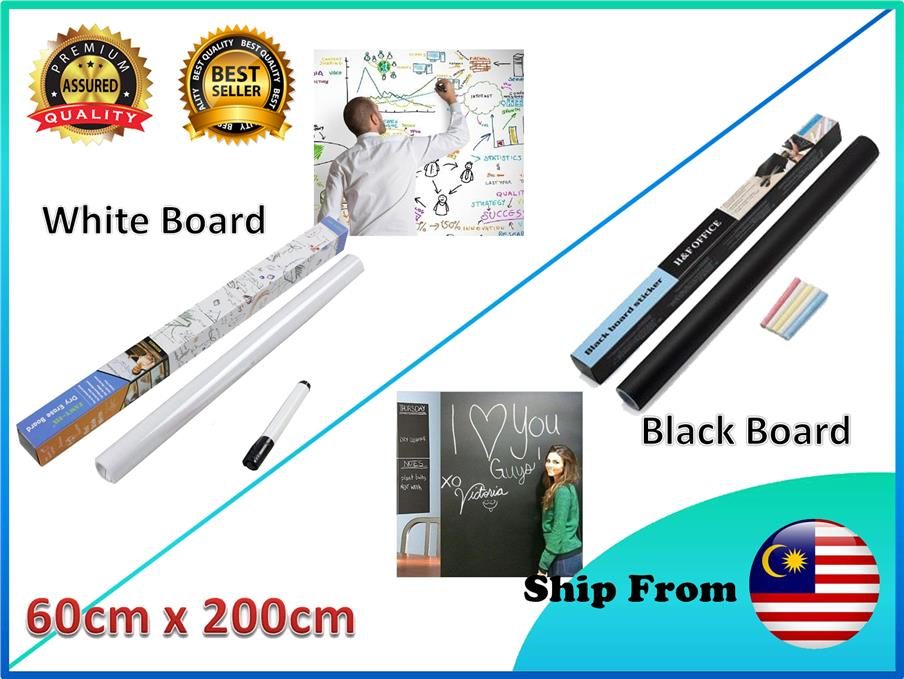 Removable Peel & Stick Whiteboard Blackboard Wall Sticker Marker Chalk
