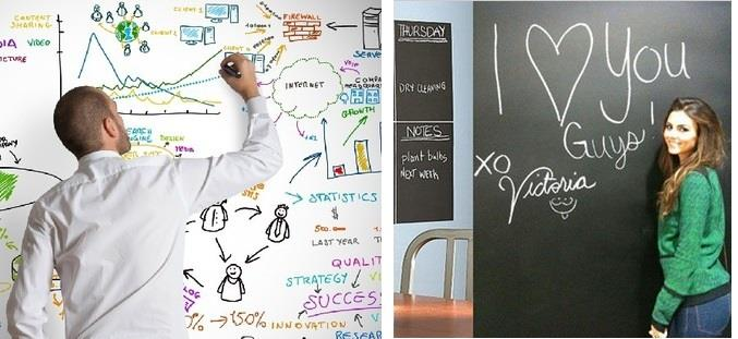 Removable Peel & Stick Whiteboard Blackboard Wall Sticker W/Free Gift