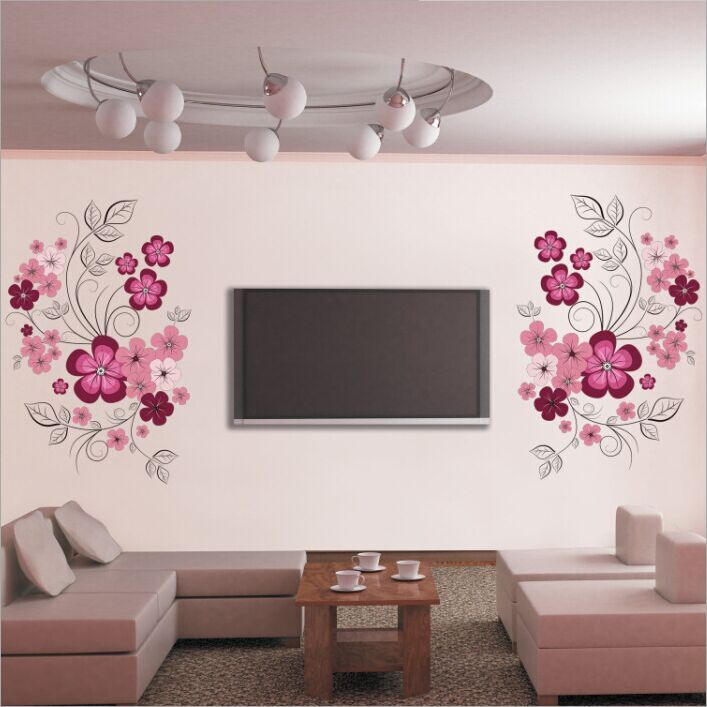 Admirable Removable Vinyl Wall Stickers Flowers Living Room Tv Sofa Backgrou Download Free Architecture Designs Rallybritishbridgeorg