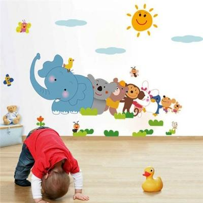 Enjoyable Removable Zoo Elephant Monkey Wall Sticker Kids Room Decor Wallpaper Home Interior And Landscaping Pimpapssignezvosmurscom