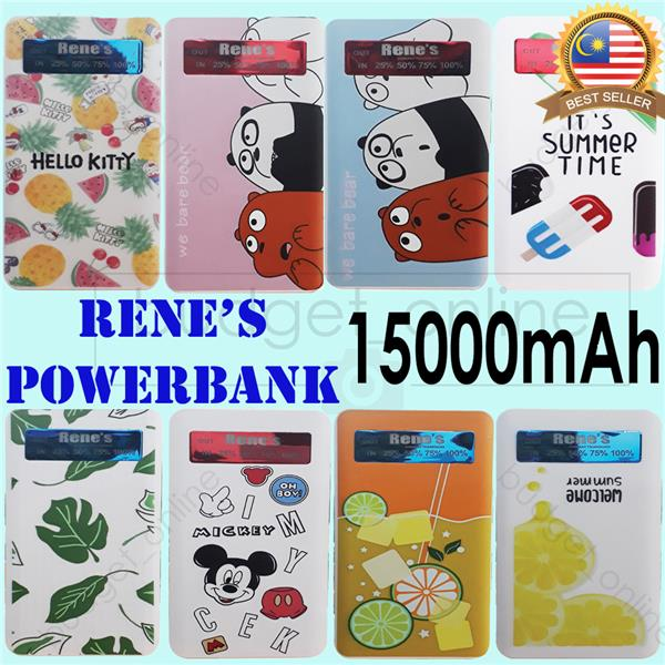 Rene's Power Bank PowerBank 15000mAh Multicolour Cute Pattern Dual USB