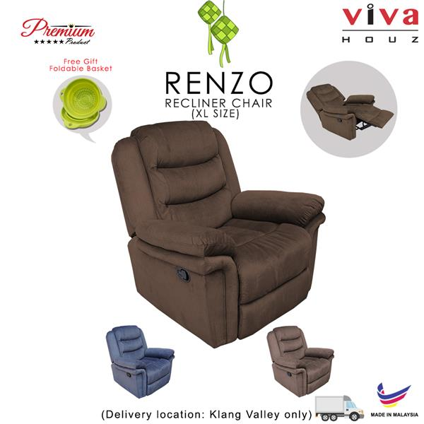 Renzo Single Seat Recliner Chair, Sofa, Full Fabric Cover (Dark Brown)