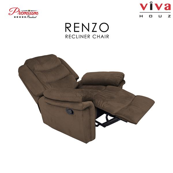 Renzo Single Seat Recliner Chair, Sofa, Full Fabric Cover (Dark Grey)