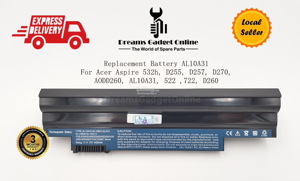 Replacement Battery AL10A31 For Acer Aspire 532H D255 D257 D270 Series