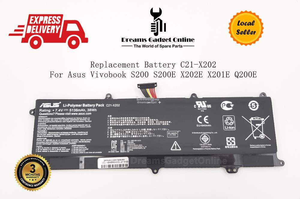 Replacement Battery C21-X202 For Asus Vivobook S200 S200E X202E X201E