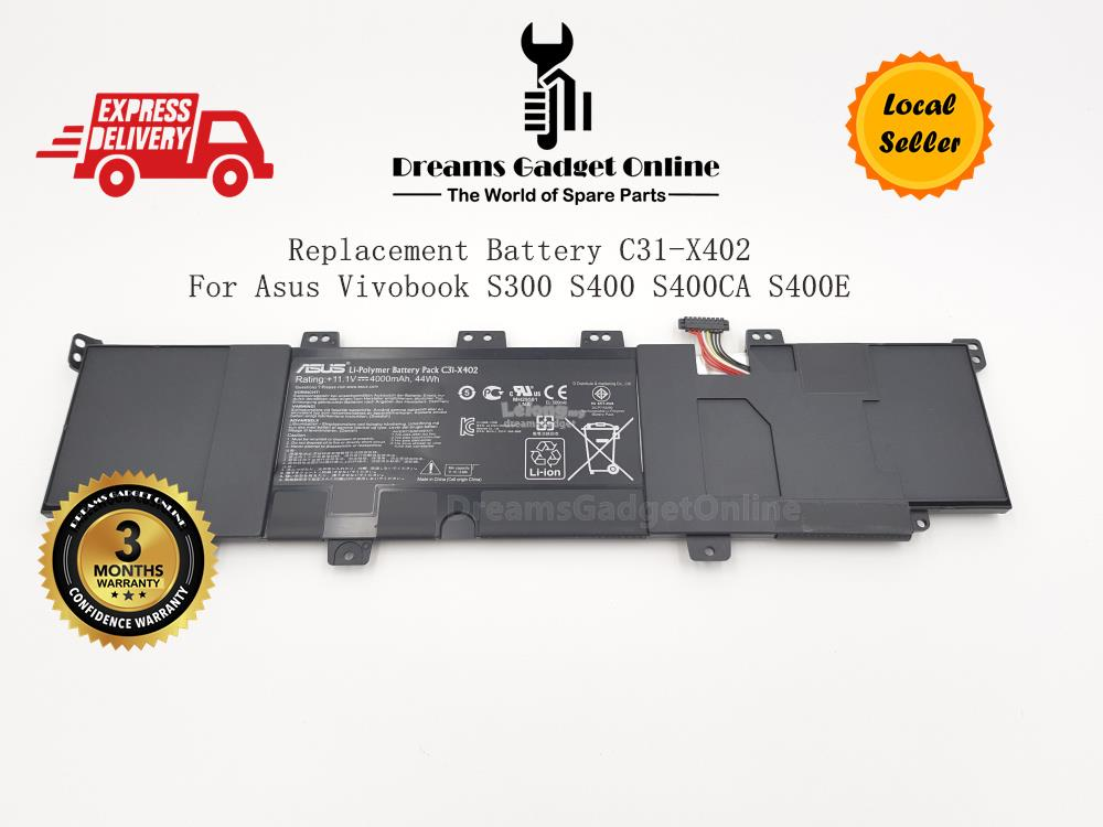 Replacement Battery C31-X402 For Asus Vivobook S300 S400 S400CA S400E