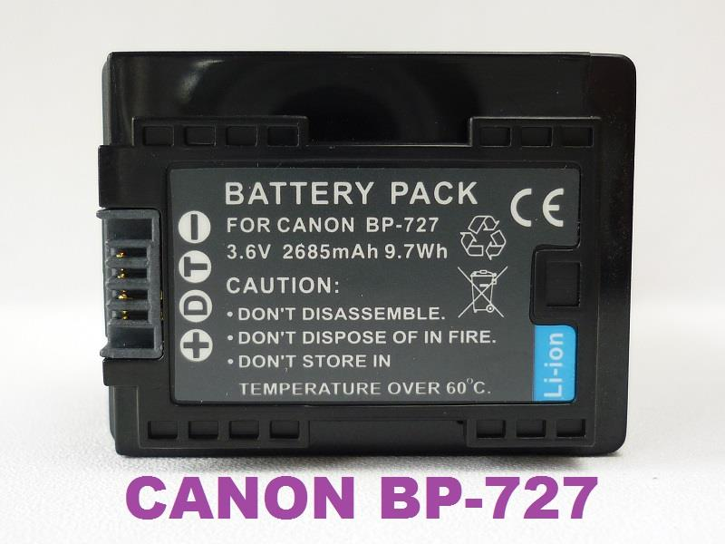 Replacement Battery for Canon BP-727 (Full Decoded)