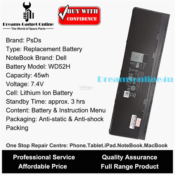 Replacement Notebook Battery WD52H Dell Latitude E7240 E7440 E7250 45W