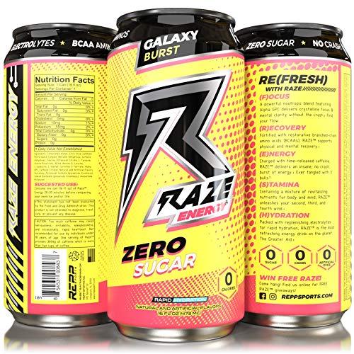 Repp Sports Raze Energy Rapid Hydration Zero Sugar 12-16oz Cans (Galaxy  Burst)