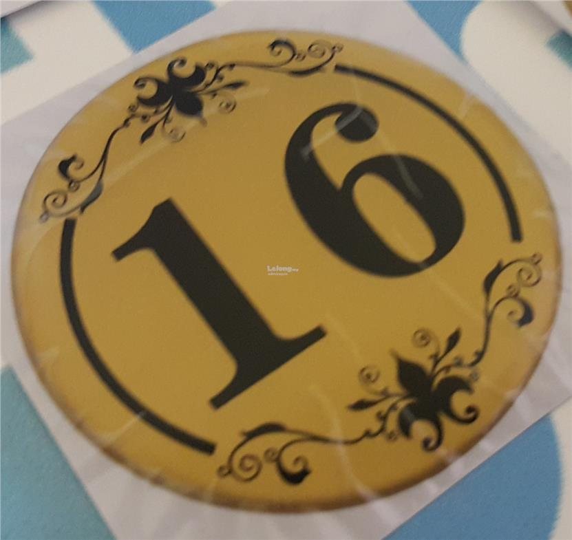 Restaurant Table Number Gold Gloss S End PM - Restaurant table numbering system