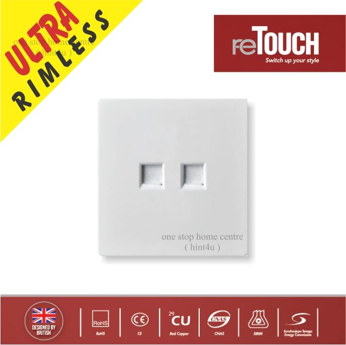 ReTouch Ultra 2 Gang Tel + Cat5 Data (rj45) Outlet (M07374W)
