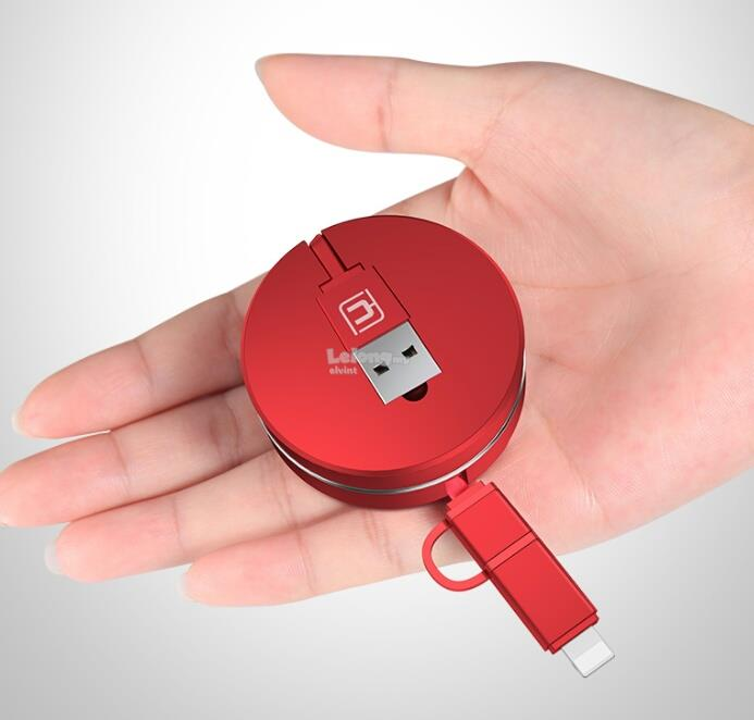 Retractable Digital IPhone+Android phone USB Charger & Data Cable (BLA